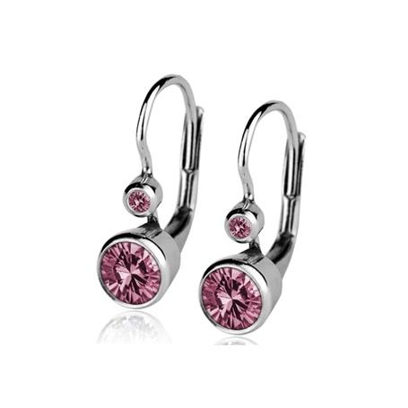 Dívčí stříbrné náušnice se dvěma světle růžovými zirkony