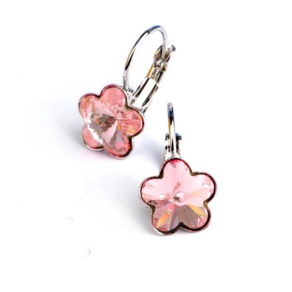 Dívčí náušnice s krystaly Swarovski - růžové kytičky