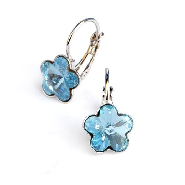 Dívčí náušnice s krystaly Swarovski - modré kytičky
