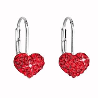 Dívčí stříbrné náušnice SWAROVSKI® elements - srdíčka červená
