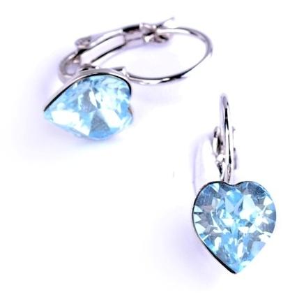 Dívčí náušnice SWAROVSKI® elements - modrá srdíčka